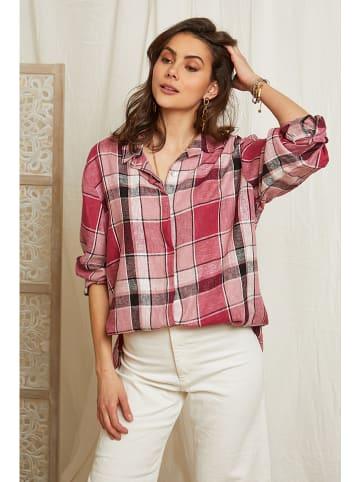 Lin Passion Lniana bluzka w kolorze jagodowo-białym