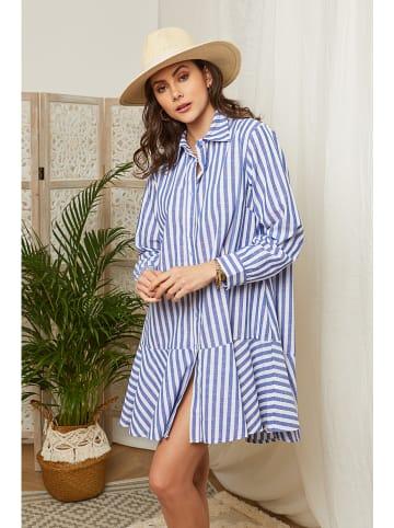 Lin Passion Lniana sukienka w kolorze niebiesko-białym