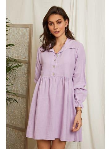Lin Passion Lniana sukienka w kolorze lawendowym