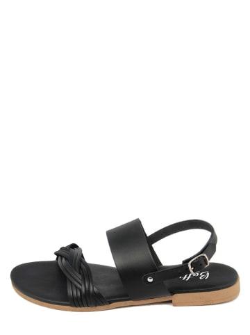 Battini Leren sandalen zwart