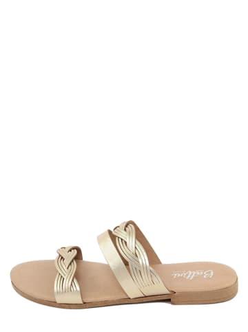 Battini Leren slippers goudkleurig