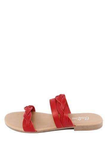 Battini Leren slippers rood