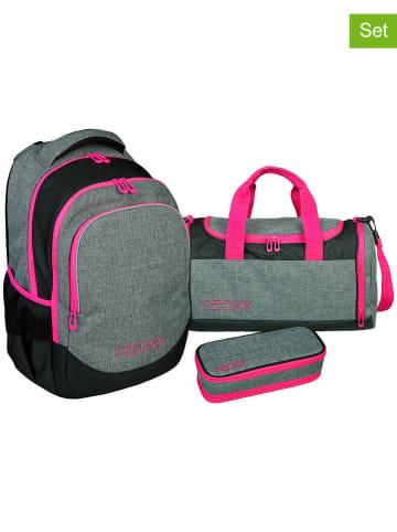 """Neoxx 3tlg. Schulset """"Neon"""" in Grau/ Schwarz/ Pink"""