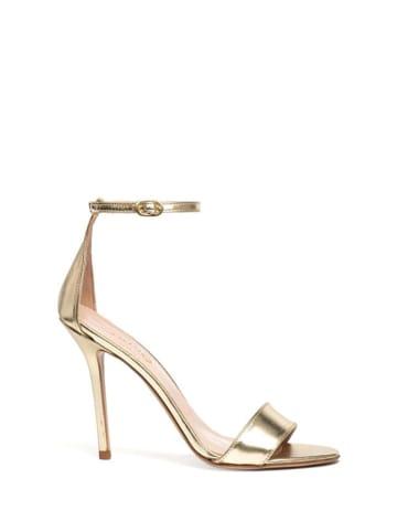 Liu Jo Skórzane sandały w kolorze złotym