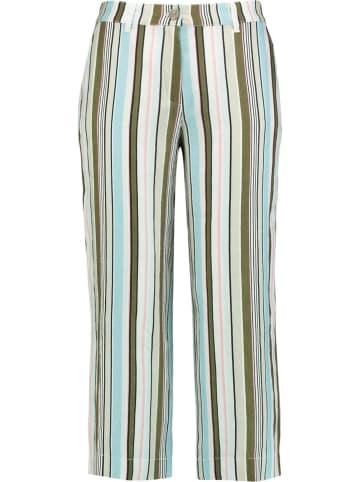 Gerry Weber Lniane spodnie w kolorze biało-oliwkowo-turkusowym