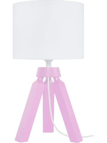 """Tosel Lampa stołowa """"Gaby"""" w kolorze jasnoróżowo-białym - wys. 31 cm"""