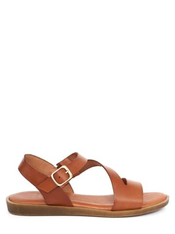 CLKA Skórzane sandały w kolorze brązowym