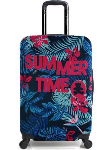 """Lulu Castagnette Trolley-overtrek """"Lulu Summer"""" donkerblauw/roze - (B)41 x (H)65 x (T)25 cm"""
