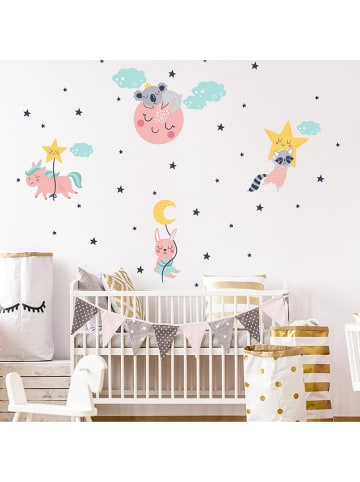 """Ambiance Wandsticker """"Unicorn and his friends in the starry sky"""""""