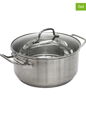 COOK CONCEPT 2-delige set: pan met deksel zilverkleurig - Ø 28 cm