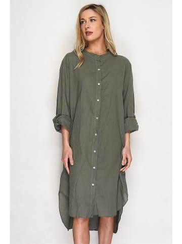 Lacony Linen Kleid in Khaki