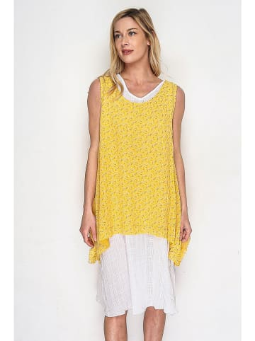 Lacony Linen Kleid in Gelb/ Weiß