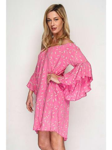 Lacony Linen Kleid in Pink