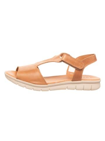 CAMINA by Kmins Skórzane sandały w kolorze karmelowym