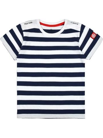 POLO CLUB St. MARTIN Koszulka w kolorze granatowo-białym