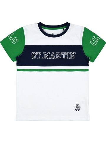 POLO CLUB St. MARTIN Koszulka w kolorze biało-zielonym