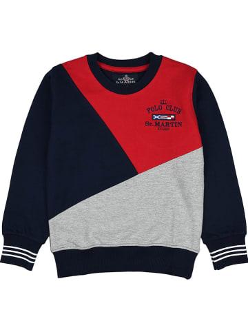 POLO CLUB St. MARTIN Bluza w kolorze czerwono-szaro-granatowym