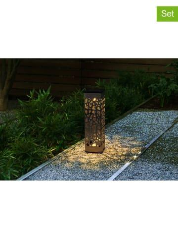 """Lumisky 3er-Set: LED-Solar-Gartenstecker """"Organic"""" in Silber - (H)28 cm"""