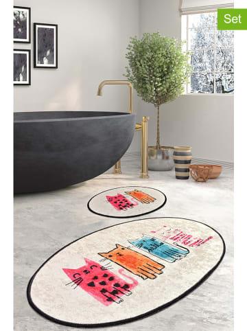 Colourful Cotton 2-delige set: badmatten beige/meerkleurig