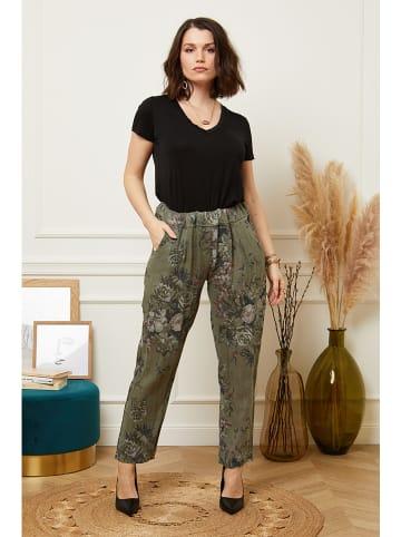 Curvy Lady Lniane spodnie w kolorze khaki