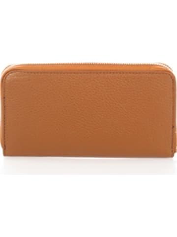 Markese Leren portemonnee cognackleurig - (B)21 x (H)12 x (D)2 cm