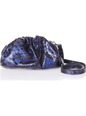 Markese Leren clutch blauw - (B)23 x (H)12 x (D)5 cm