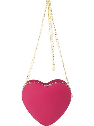 Markese Leren schoudertas roze - (B)18 x (H)15 x (D)6 cm