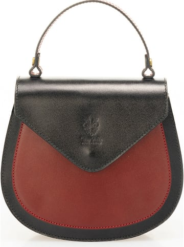 Massimo Castelli Leren handtas zwart/rood - (B)28 x (H)20 x (D)11 cm
