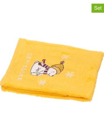 """Schiesser Ręczniki dziecięce (2 szt.) """"Bearly"""" w kolorze żółtym do rąk"""