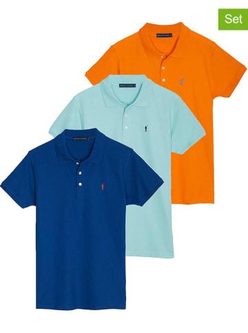 Polo Club 3er-Set: Poloshirts in Orange/ Hellblau/ Blau