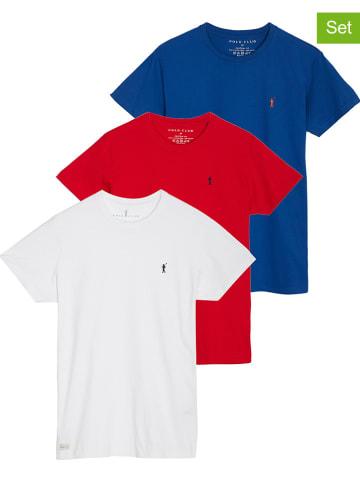 Polo Club 3er-Set: Shirt in Weiß/ Rot/ Blau