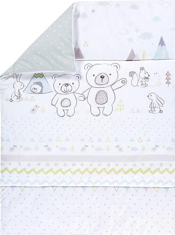 """Alvi Koc """"Bear"""" w kolorze biało-turkusowym do raczkowania - 135 x 100 cm"""