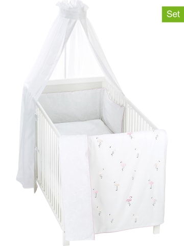 "Alvi 4-delige babybedset ""Flamingo"" wit/lichtroze"