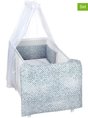 """Alvi 4-delige babybedset """"Mosaik"""" blauw"""