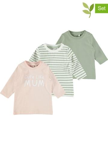 Name it Koszulki (3szt.) w kolorze biało-beżowo-zielonym