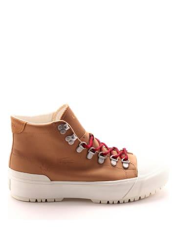 """Lacoste Skórzane sneakersy """"Gripshot"""" w kolorze jasnobrązowym"""