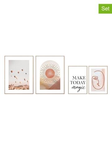 """Orangewallz Druki artystyczne (4 szt.) """"Magical Trends Pure Essentials"""" z ramką"""