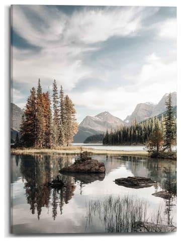 """Orangewallz Leinwanddruck """"Mountain Lake Botanic Touch"""" - (B)50 x (H)70 cm"""