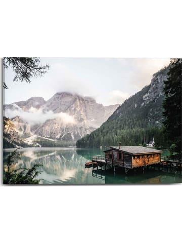 "Orangewallz Druk ""Mountain Lake Cabin Botanic Touch"" na płótnie - 50 x 70 cm"