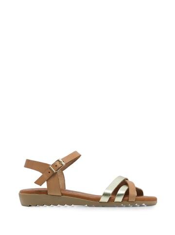 Amparo Infantes Skórzane sandały w kolorze złoto-jasnobrązowym