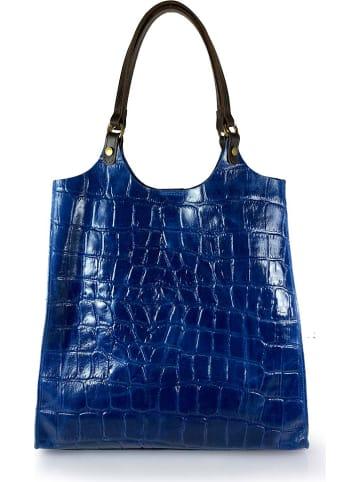 "ORE10 Leren shopper ""Prince"" blauw - (B)32 x (H)35 x (D)13 cm"