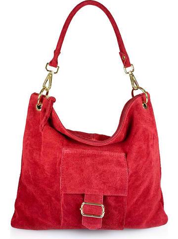 """ORE10 Skórzana torebka """"Queen"""" w kolorze czerwonym - 39 x 34 x 4 cm"""