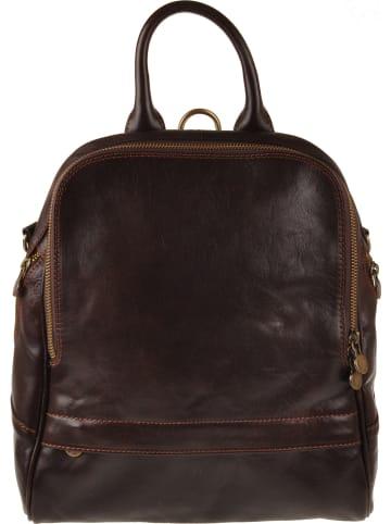 """ORE10 Skórzany plecak """"Wimille"""" w kolorze ciemnobrązowym - 31 x 32 x 9 cm"""