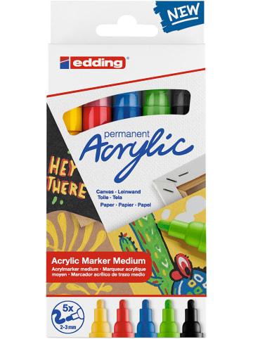 """Edding Markery akrylowe (5 szt.) """"5100 Medium Basic"""""""