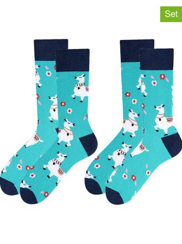 TODO SOCKS 2-delige set: sokken turquoise/donkerblauw
