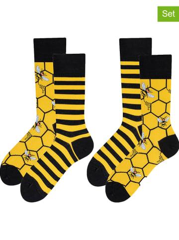 TODO SOCKS 2-delige set: sokken geel/zwart