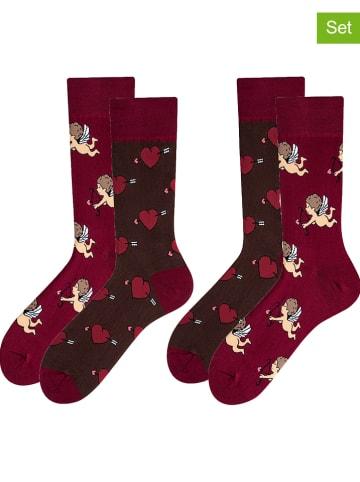 TODO SOCKS 2-delige set: sokken borderaux/donkerbruin