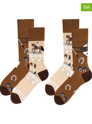 TODO SOCKS 2-delige set: sokken bruin/beige