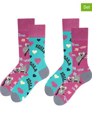 TODO SOCKS 2-delige set: sokken zwart/turquoise