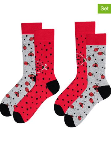TODO SOCKS 2-delige set: sokken rood/lichtgrijs